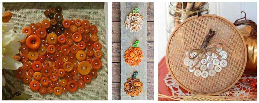 Calabazas decorativas con botones (Tutoriales)