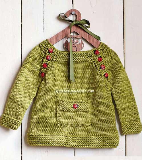 Jersey infantil de punto con botones en forma de mariquita como decoración (tutorial)