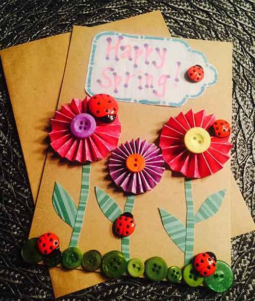 Tutorial para realizar tarjeta de felicitación con botones en forma de mariquita