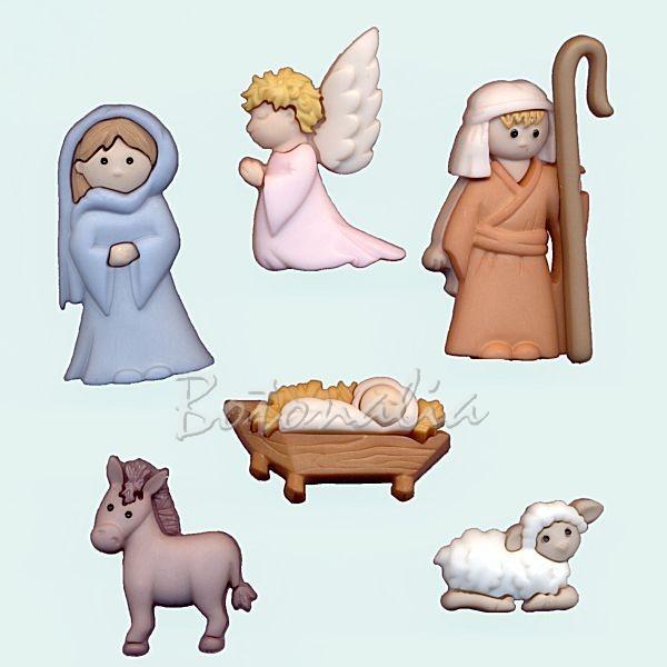 Botones decorativos con las figuras del nacimiento