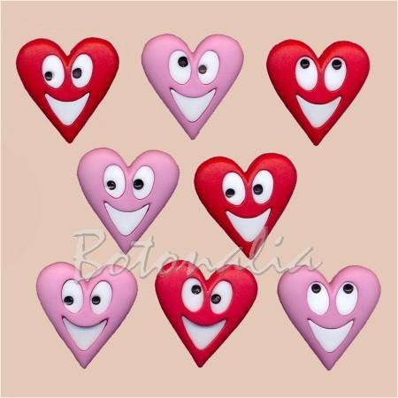 Botones sonrientes con forma de corazón