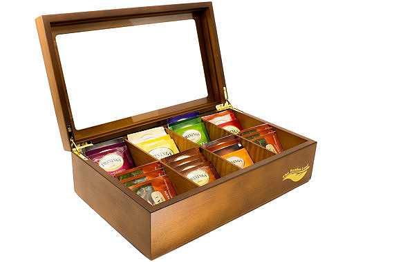Caja de madera para guardar bolsitas de té