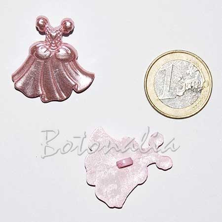 Botón con forma de vestido de princesa