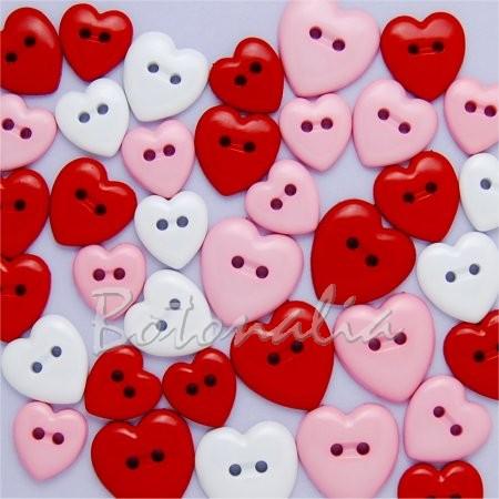 Paquete de botones decorativos con forma de corazón