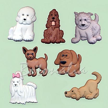 Botones decorativos con forma de perritos