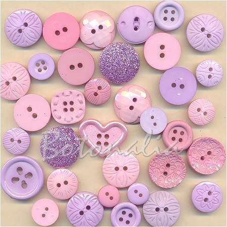 Paquete de botones decorativos en violeta y rosa