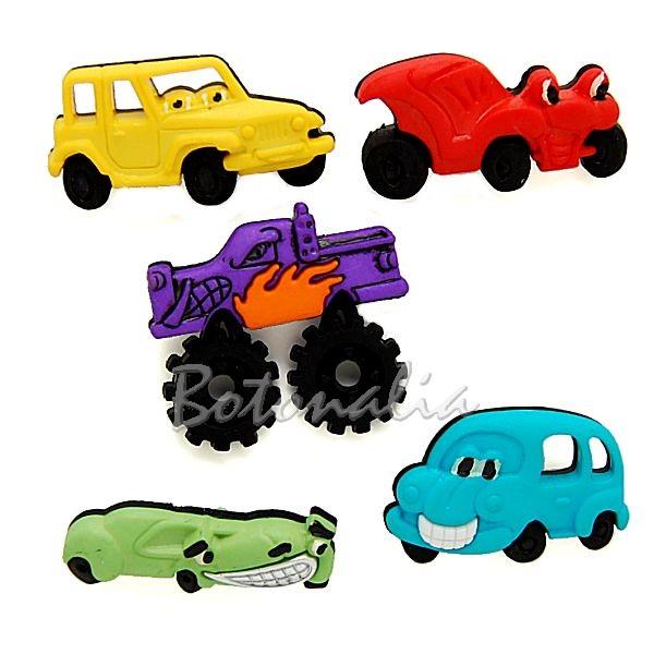 Botones en forma de coches con ojos en distintos modelos