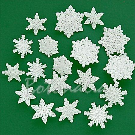 Botones con forma de copos de nieve
