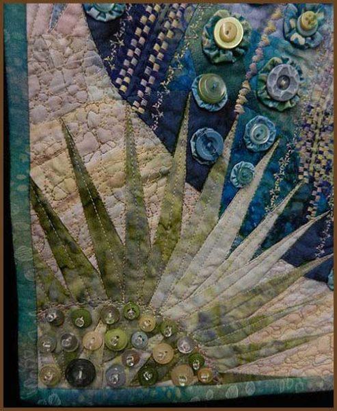 Detalle de quilt con montones de botones decorativos dando textura