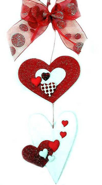 Otra idea de decoración con botones en forma de corazones