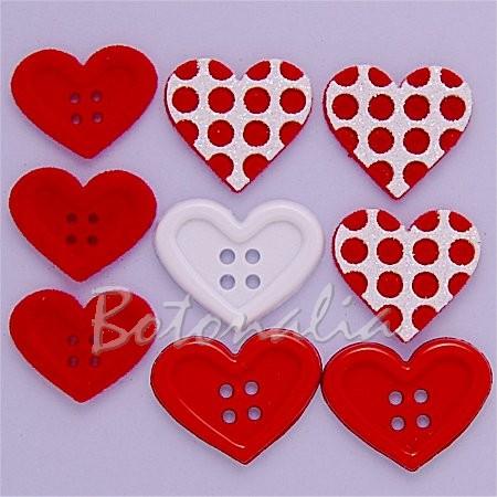 Botones y adornos con forma de corazón