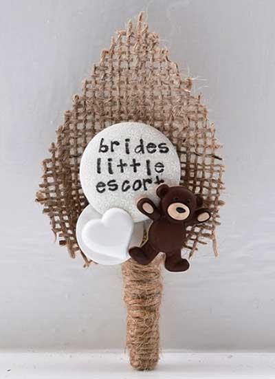 Botón con forma de osito en adorno para boda