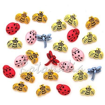 Paquete de botones pequeñitos con formas de insectos variados