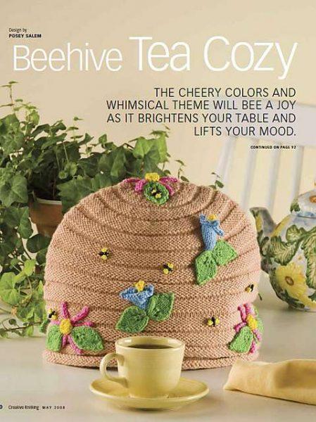 Cubre teteras de punto con decoración de botones de abejas