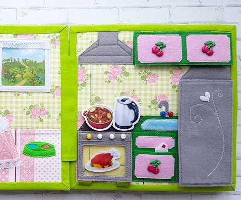 Botones con forma de cerezas adornando cocina de libro de tela