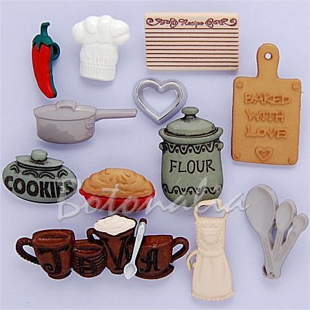 Botones decorativos con formas relacionadas con la cocina