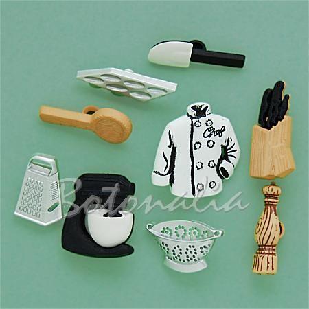 Botones decorativos con forma de utensilios de cocina