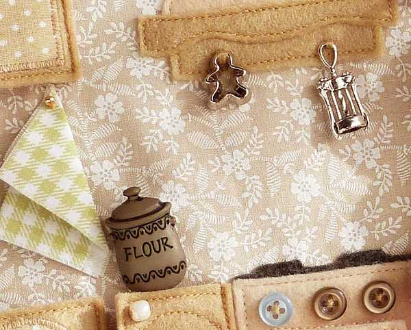 Botón con forma de bote de harina en cocina de libro de tela