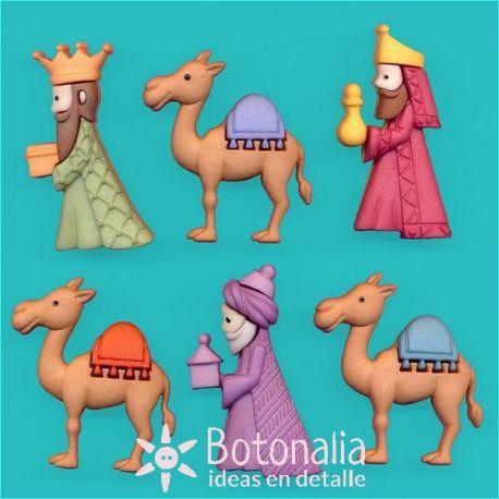 Botones de los Reyes Magos y sus camellos
