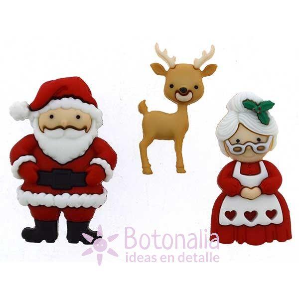 Mr. and Mrs. Claus botones decorativos de Navidad
