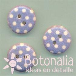 Blue polka dots 15 mm