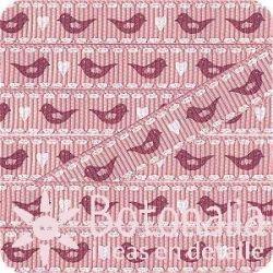 Grosgrain rosa con pájaros rojos