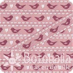 Grosgrain in pink with birds in red