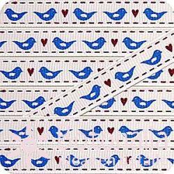 Grosgrain con pájaros azules