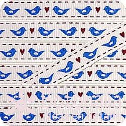 Grosgrain with birds in blue