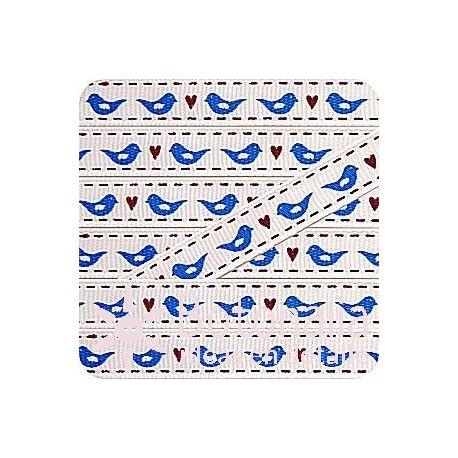 Grosgrain with birds in blue