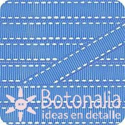 Grosgrain in blue with stitched decorations