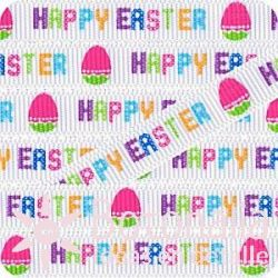 Grosgrain Happy Easter in white