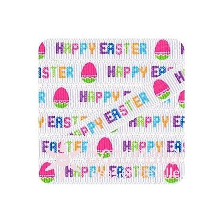 Grosgrain Happy Easter in white