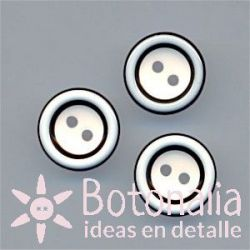 Round button - in black and white 12 mm