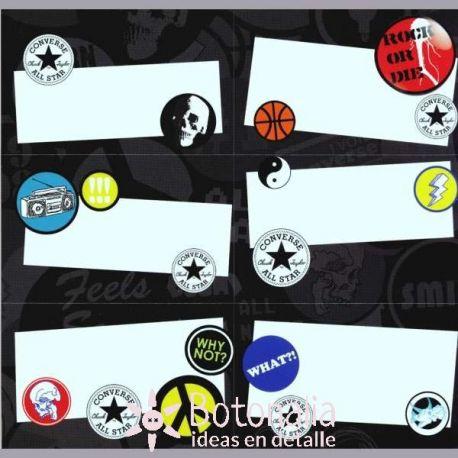 18 etiquetas escolares estampadas de papel