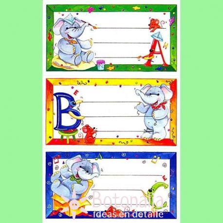 9 etiquetas escolares estampadas de papel