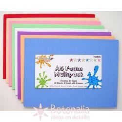 40 hojas de Goma EVA A5 de colores
