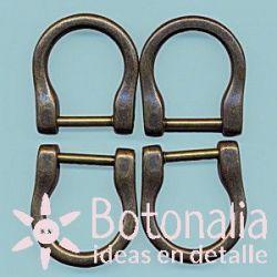 Metal rings for handbag in bronze color