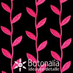 Novelty ribbon - in pink leaves