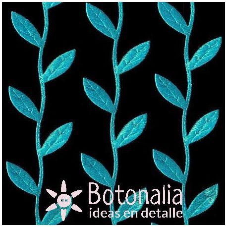 Novelty ribbon - blue leaves