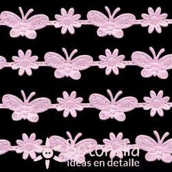 Cinta rosa flores y mariposas