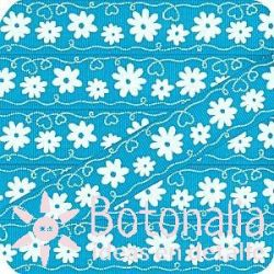 Grosgrain ribbon with blue flowers