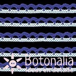 Puntilla algodón blanco y azul