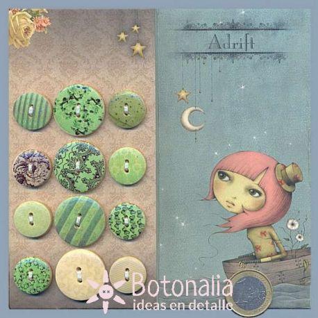 Wooden buttons Mirabelle Adrift