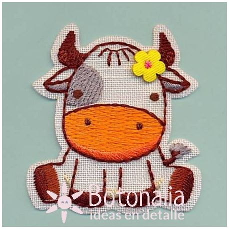 Little cow with a flower
