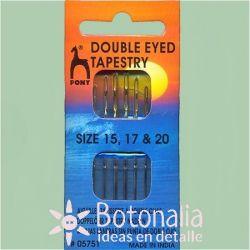 6 wool needles with double eye