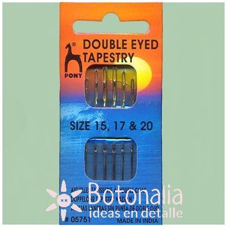 6 agujas laneras de doble ojo