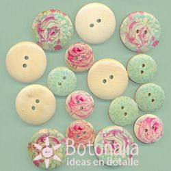 Wooden buttons - Forget me not
