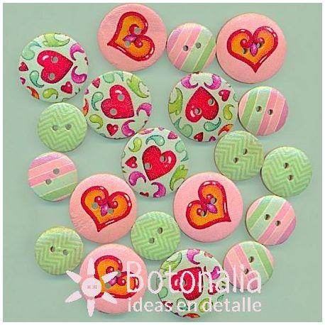 Wooden buttons - Fun Fair