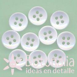 10 botones blancos 10 mm